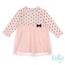 Feetje jurk stip tule roze