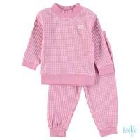 Pyjama feetje wafel roze melange